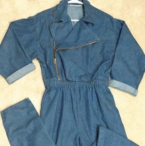 Vintage zip up denim jumpsuit